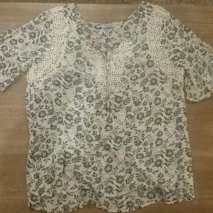 Maurices floral and crochet blouse